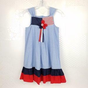 Bonnie Jean   Patriotic Chambray Tunic Dress, 6X